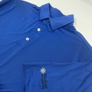 Footjoy Short Sleeve Blue Striped Polo